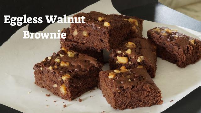 Eggless Walnut Brownie -No Eggs Brownie – Eggless Chocolate Brownie