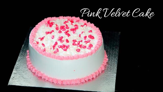 Valentine's day Cake – Pink Velvet Cake – Eggless Pink Velvet Cake