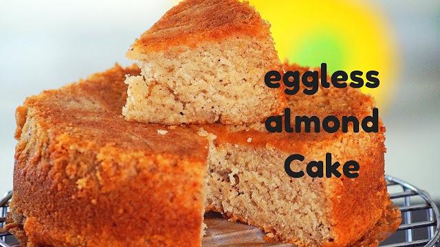 Eggless Almond Cake – No Egg Almond Pound Cake