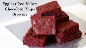 Eggless Red Velvet Chocolate Chips Brownie
