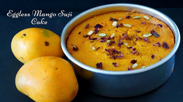 Eggless Mango Sooji Cake – Mango Rawa Cake
