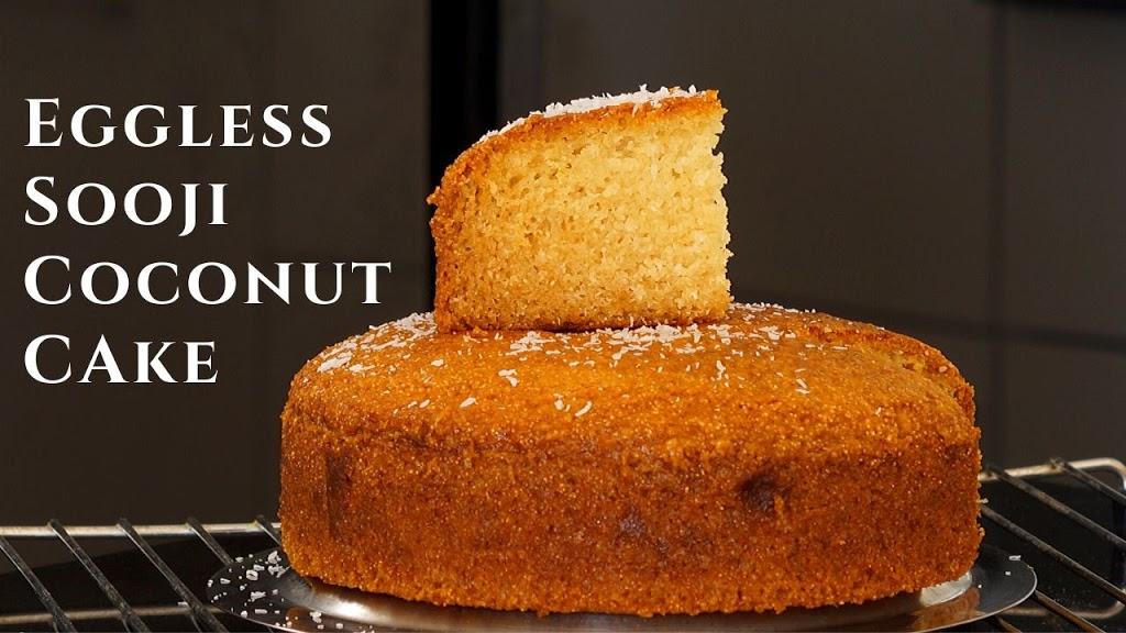 Eggless Coconut Sooji Cake