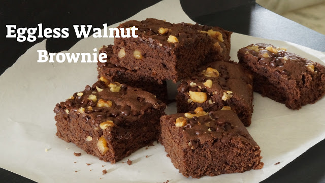 Eggless Walnut Brownie -No Eggs Brownie - Eggless Chocolate Brownie